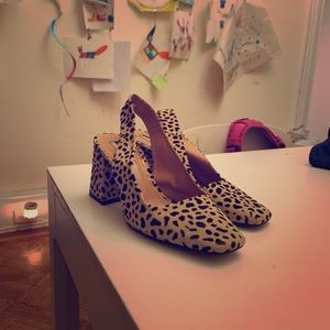 Topshop Leopard Print Block Heel Sandal